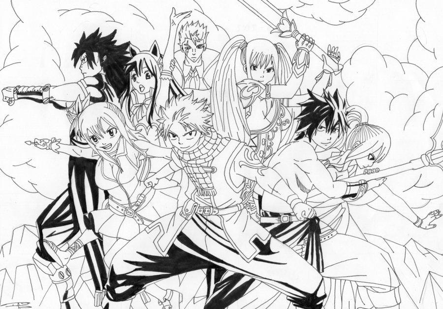 Dessin À Colorier Fairy Tail Natsu Et Lucy encequiconcerne Coloriage Fairy Tail A Imprimer