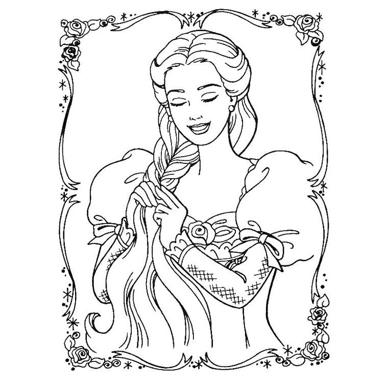 Dessin À Colorier Raiponce Et Pascal destiné Dessin Princesse Raiponce