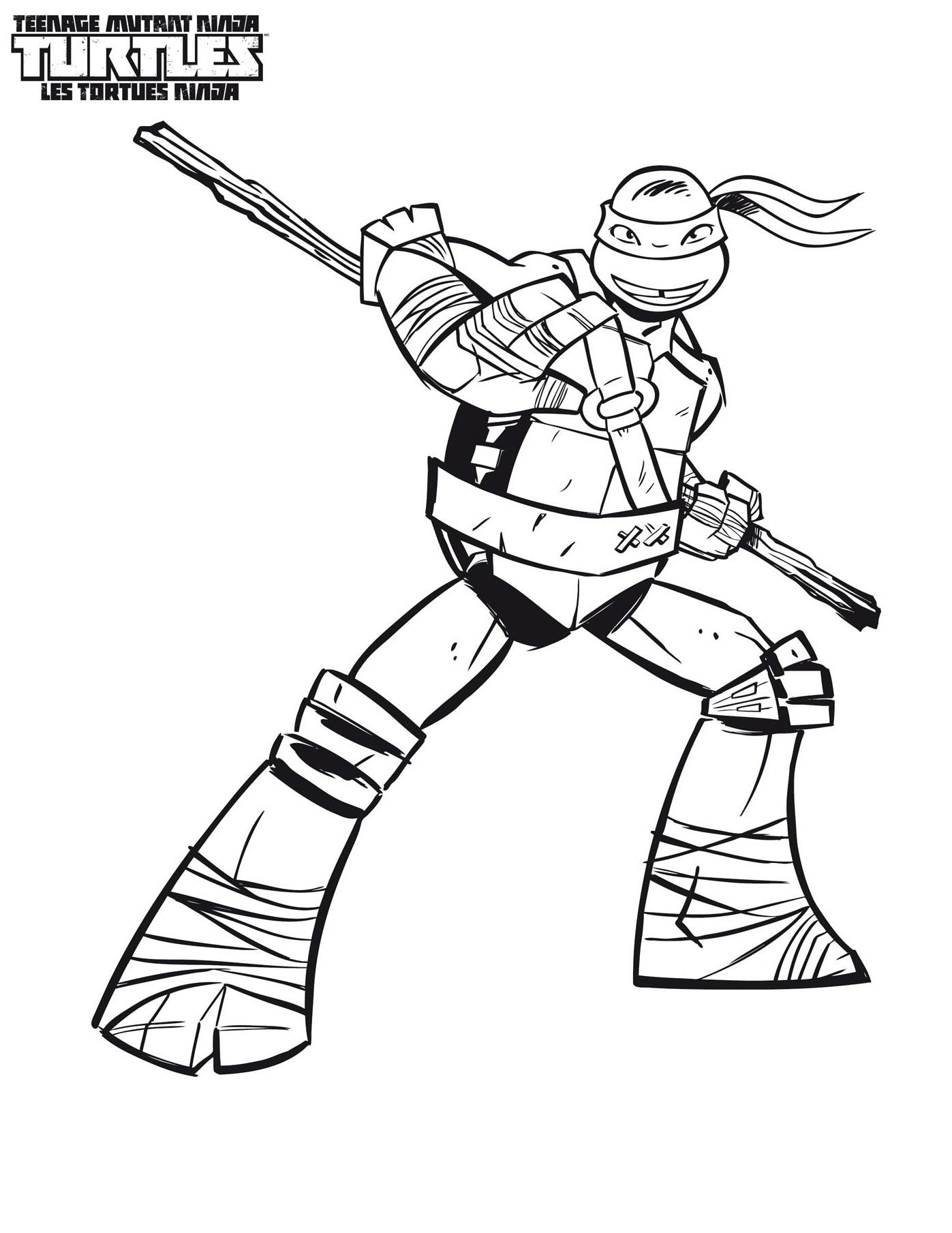 Dessin À Colorier Tortue Ninja Tfou dedans Coloriage Tortue Ninja Michelangelo