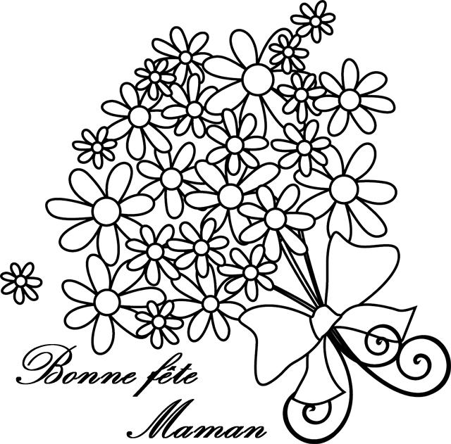 Dessin À Colorier, Un Bouquet De Fleurs Pour La Fête Des avec Dessin Pour La Fête Des Mères