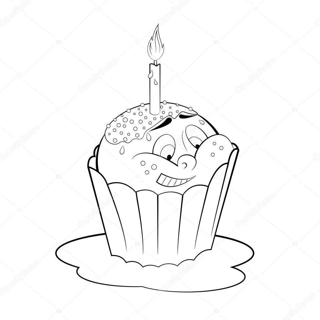 Dessin Animé Petit Gâteau Avec Une Bougie. Coloriage destiné Dessin Gateaux