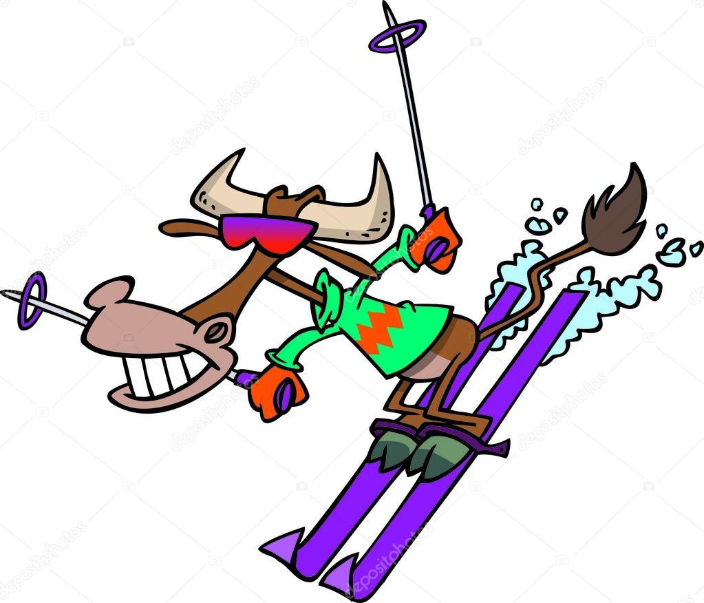 Dessin Animé Vache Neige Ski — Image Vectorielle dedans Dessin De Ski