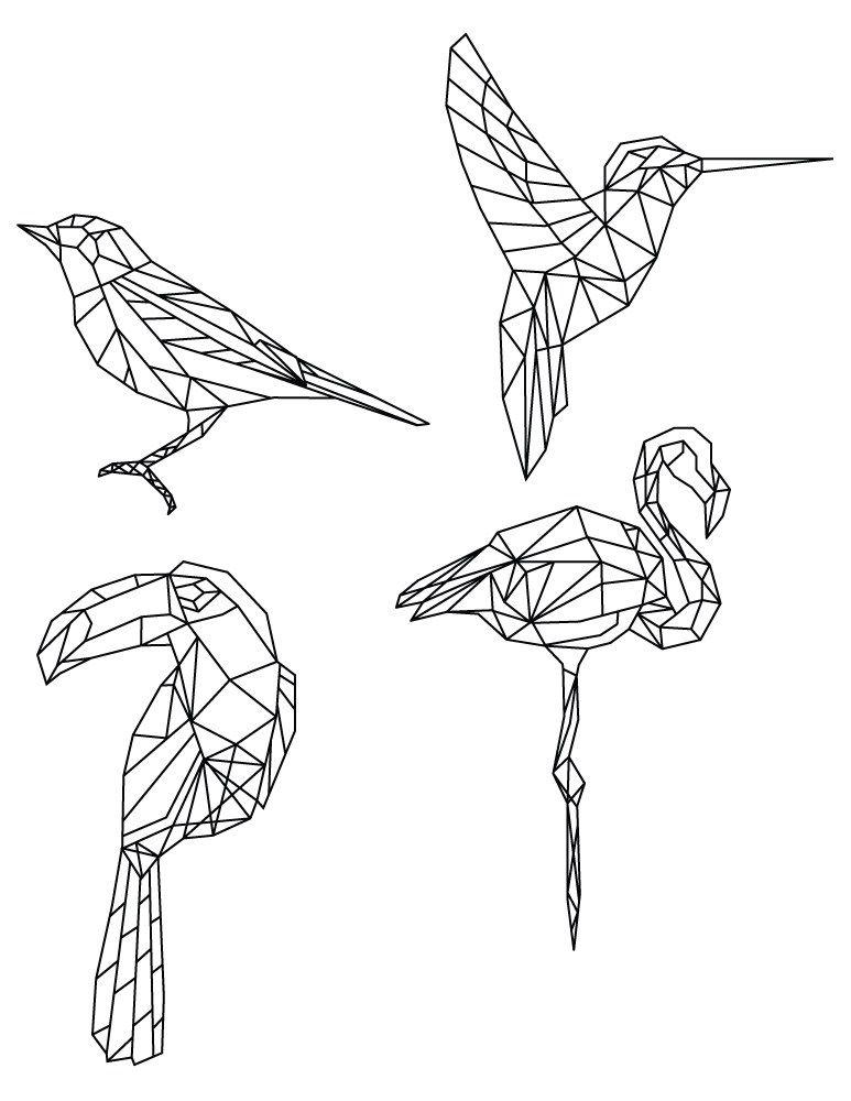 Dessin De Coloriage Polygonal Divers Oiseaux | Art avec Coloriage Oiseaux A Imprimer