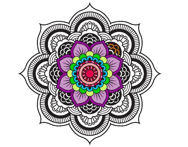 Dessin De Mandala Fleur Oriental Colorie Par Jodoci Le 12 concernant Mandala Colorié
