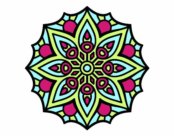 Dessin De Mandala Symétrie Simple Colorie Par Membre Non dedans Mandala Colorié
