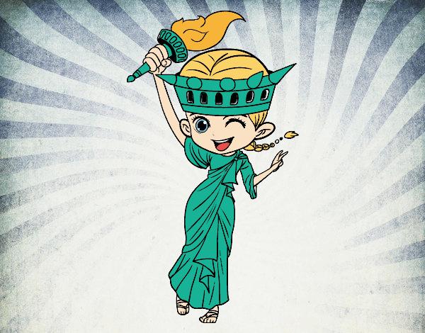 Dessin De Statue De La Liberté Manga Colorie Par Membre tout Statue De La Liberté Dessin