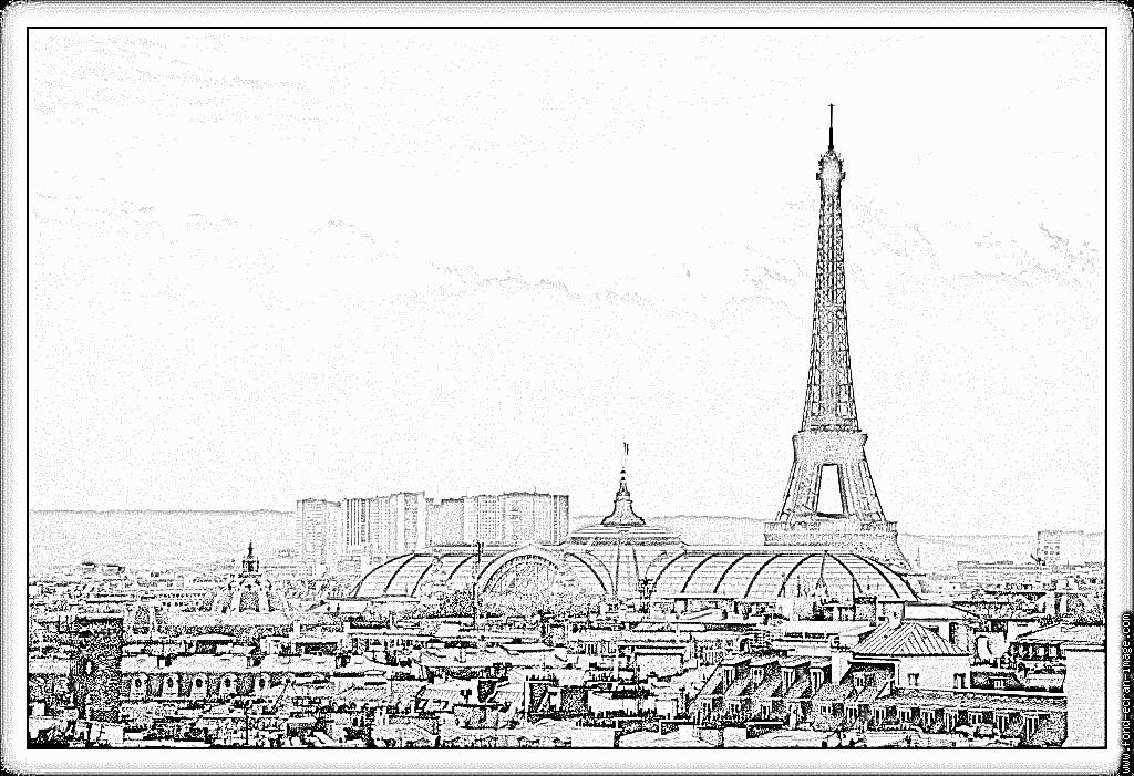 Dessin De Tour Eiffel A Colorier destiné Tour Eiffel À Imprimer