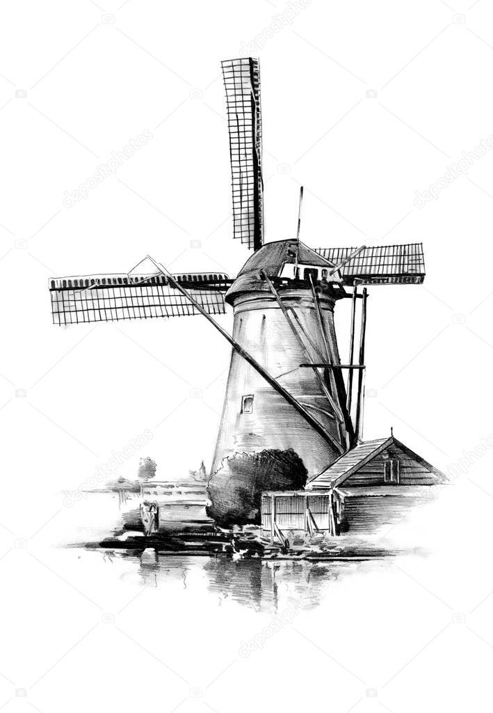 Dessin De Vintage Retro Vieux Moulin À Vent — Photographie pour Dessin Moulin À Vent