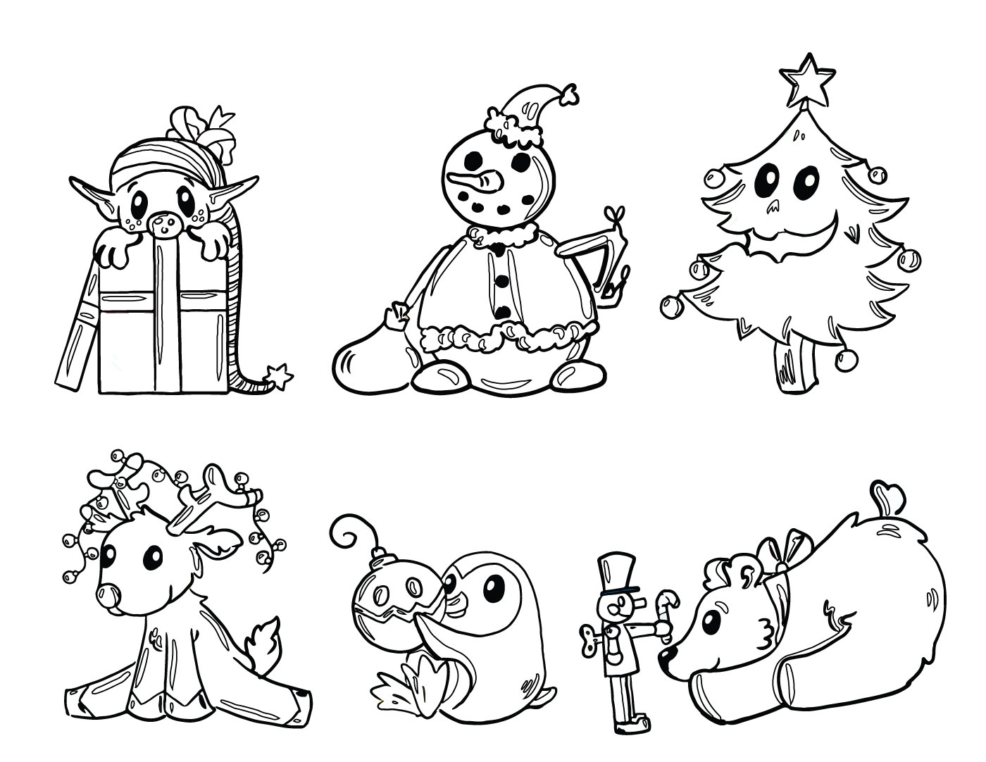 Dessin Des Amis Du Père Noel À Imprimer Gratuit encequiconcerne Coloriage Père Noel Gratuit À Imprimer