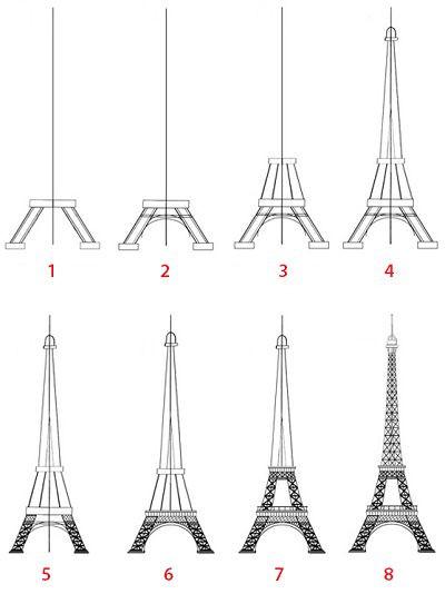 Dessin Facile A Reproduire Par Etape – 3 Design pour Dessiner La Tour Eiffel
