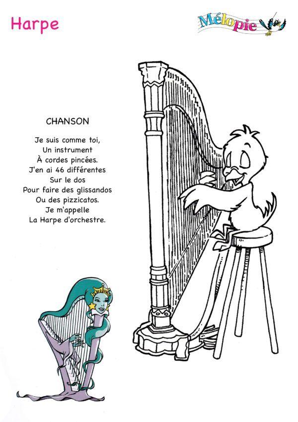 Dessin Harpe | Harpe, Instrument A Corde, Chanson à Dessin Harpe