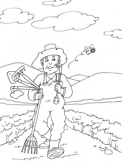 Dessin Jardinier avec Oloriage Potager A Imprimer