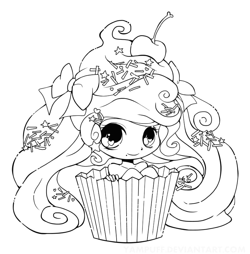Dessin Kawaii Coloriage Gallery Avec Cupcake Girl1 Yampuff tout Coloriage Kawaii