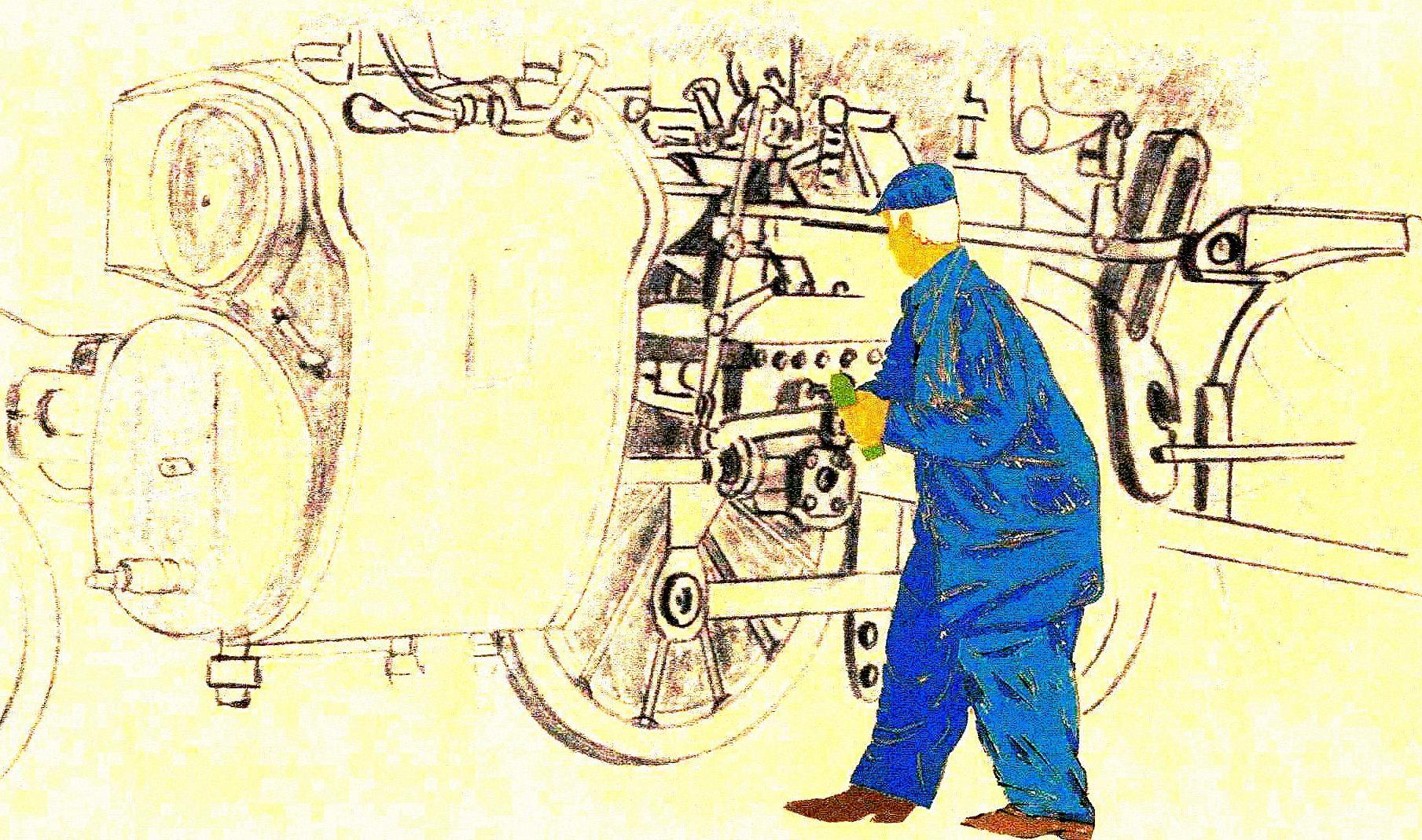Dessin Mécanicien Devant Les Roues De La Locomotive À tout Dessin 4 Roues