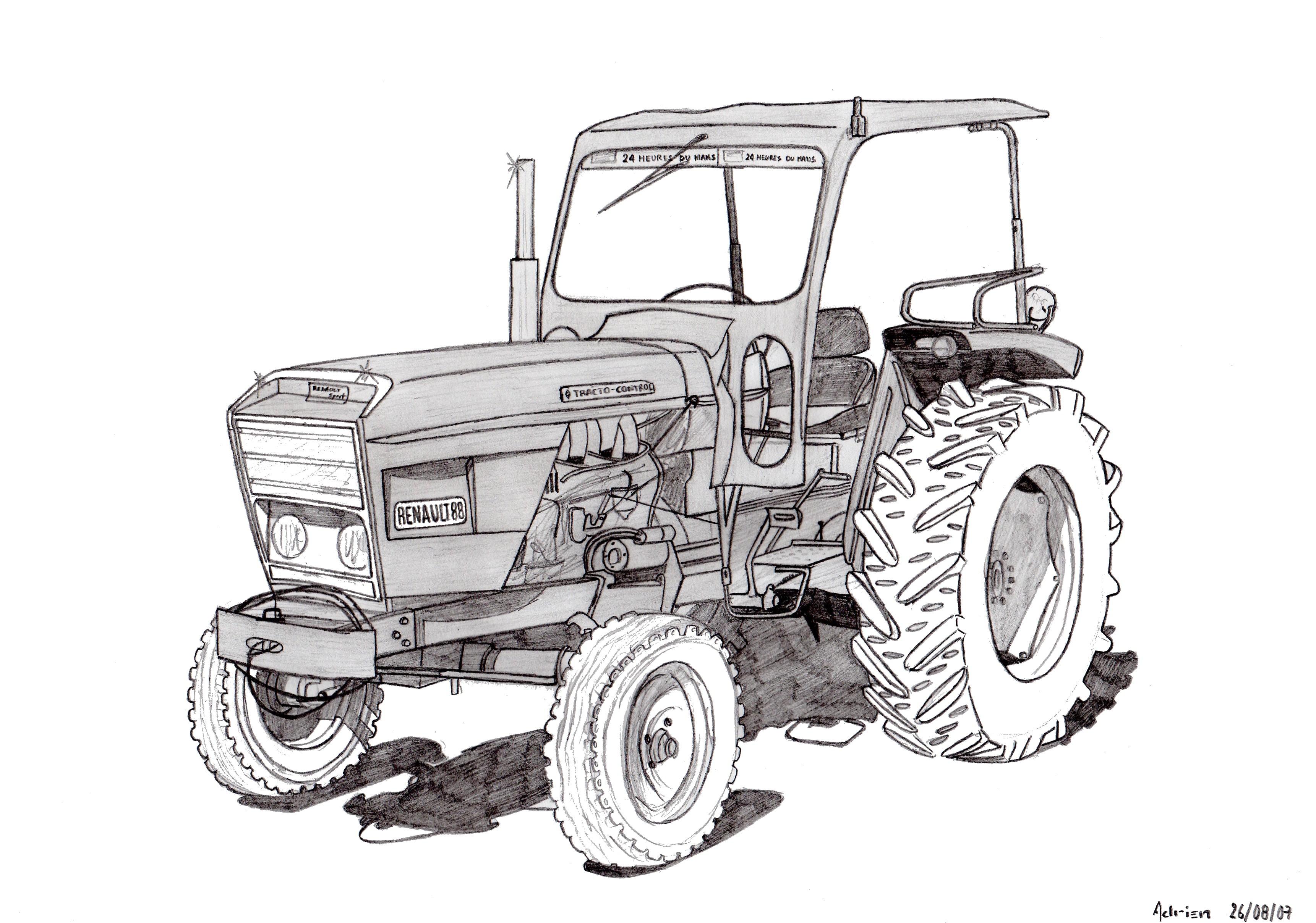 Dessin Tracteur Renault 88 - Pencildrawing.fr concernant Coloriage De Tracteur À Imprimer