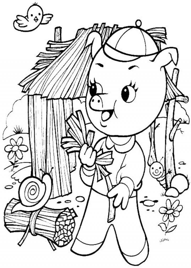 Dessin: Un Petit Cochon Construit Sa Maison En Paille dedans Dessin De Petite Maison