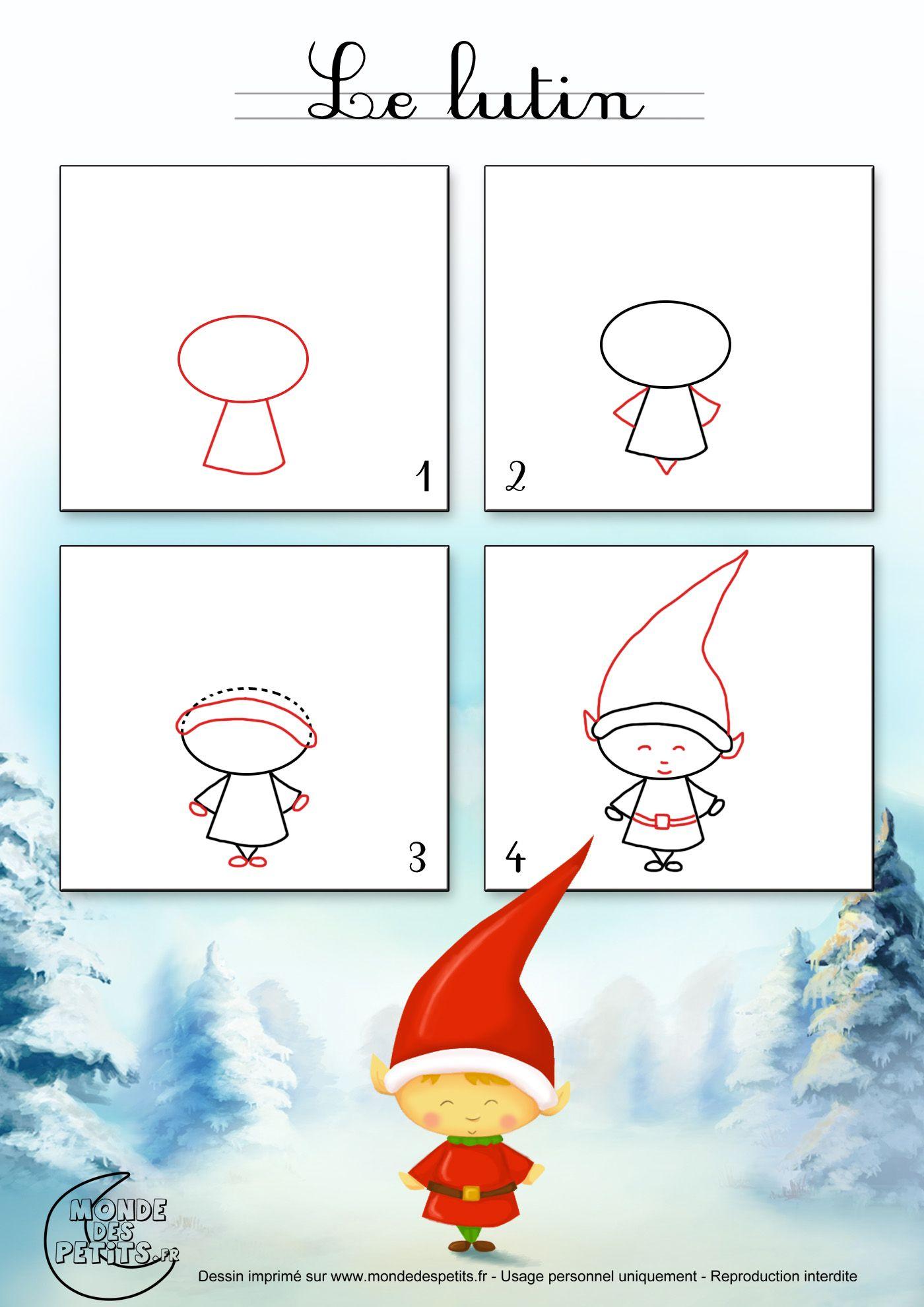 Dessin1_Comment Dessiner Un Lutin De Noël ? | Christmas dedans Image De Dessin De Noel