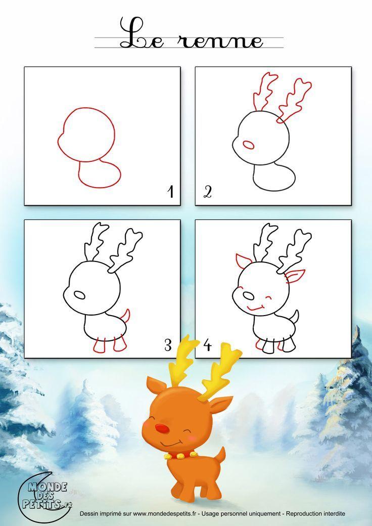 Dessin1_Comment Dessiner Un Renne De Noël ? | Dessin Noel tout Comment Dessiner Le Pere Noel