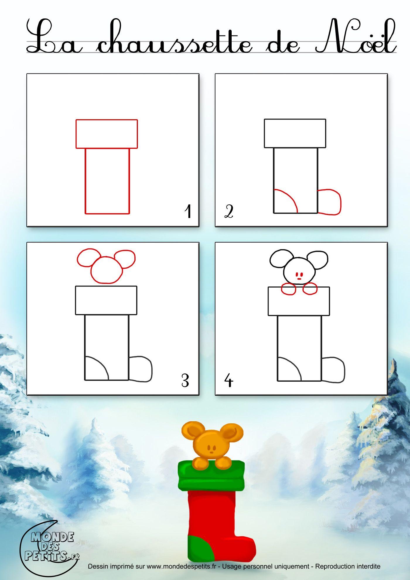 Dessin2_Comment Dessiner Une Chaussette De Noël ? | Dessin avec Comment Dessiner Le Pere Noel