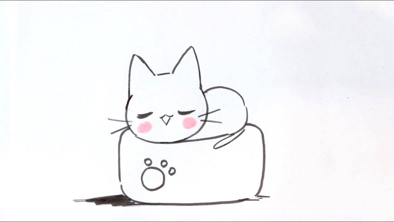 Dessiner Un Chat Facilement #7 - Dessiner Un Chat Kawaii avec Dessin De Chien Facile Et Mignon