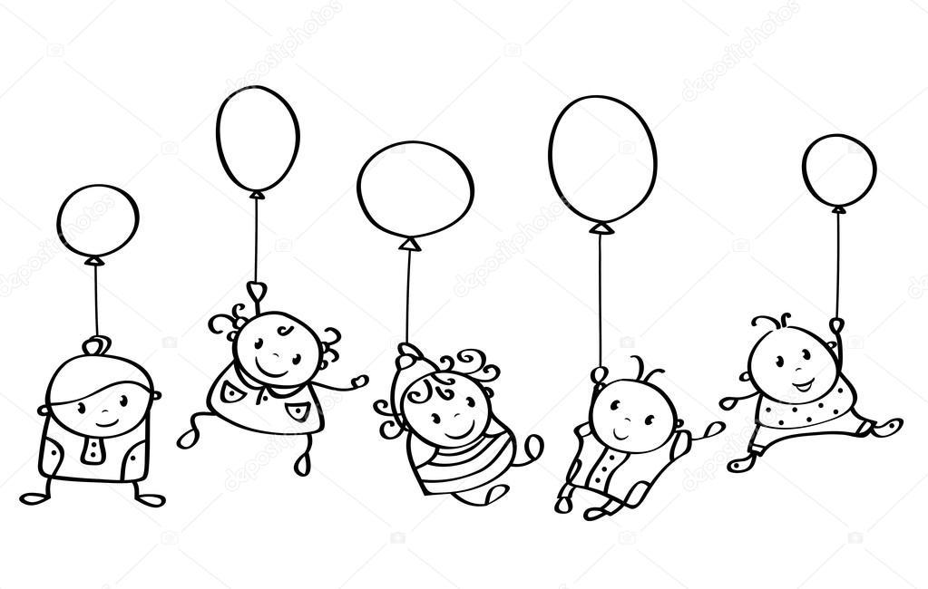 Dessins Animés Enfants Heureux Avec Des Ballons — Image concernant Dessin Ballon Baudruche