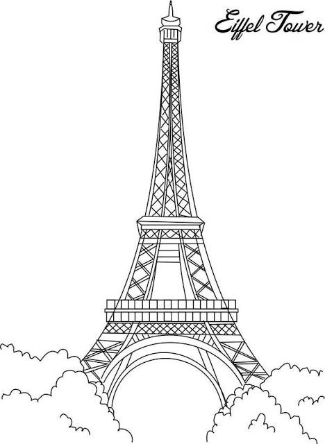 Dessins Et Coloriages: 5 Coloriages De La Tour Eiffel En intérieur Tour Effel Dessin