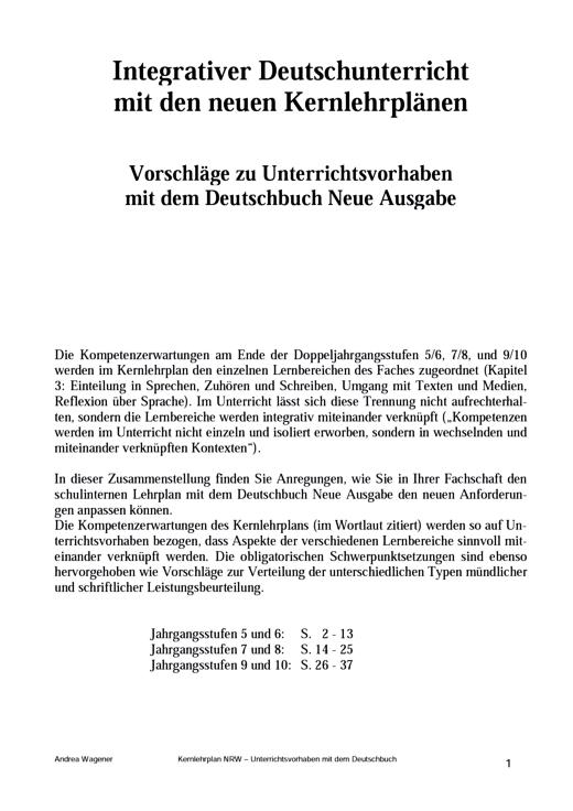 Deutschbuch Gymnasium - Kernlehrplan (Nrw à Kernlehrplan