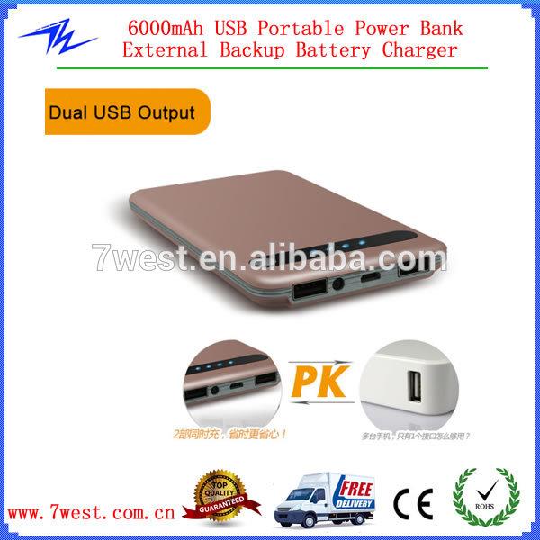 Deux Port Usb Universel Portable Power Bank 6000 Mah. Pour à De T?L?Chargement De Mp3 D?Charge Desenhos