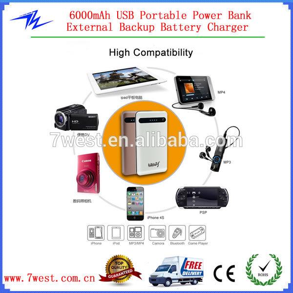 Deux Port Usb Universel Portable Power Bank 6000 Mah. Pour dedans De T?L?Chargement De Mp3 D?Charge Desenhos
