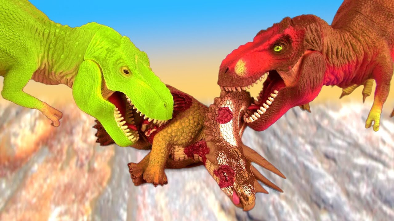 Dinosaur Fight T Rex Vs Tyrannosaurus Battle Over Prey รบ intérieur Dinosaure Tyrex
