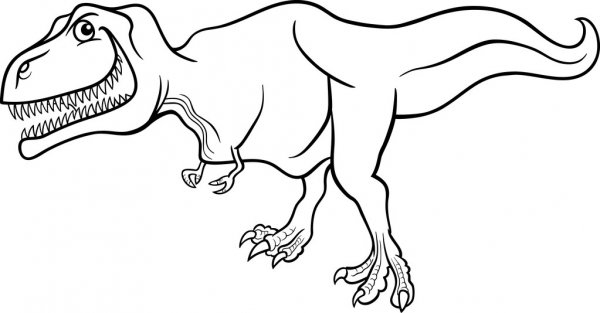 Dinosaure Tyrannosaure Cartoon Pour Cahier De Coloriage encequiconcerne Coloriage Dinosaure Tyrannosaure