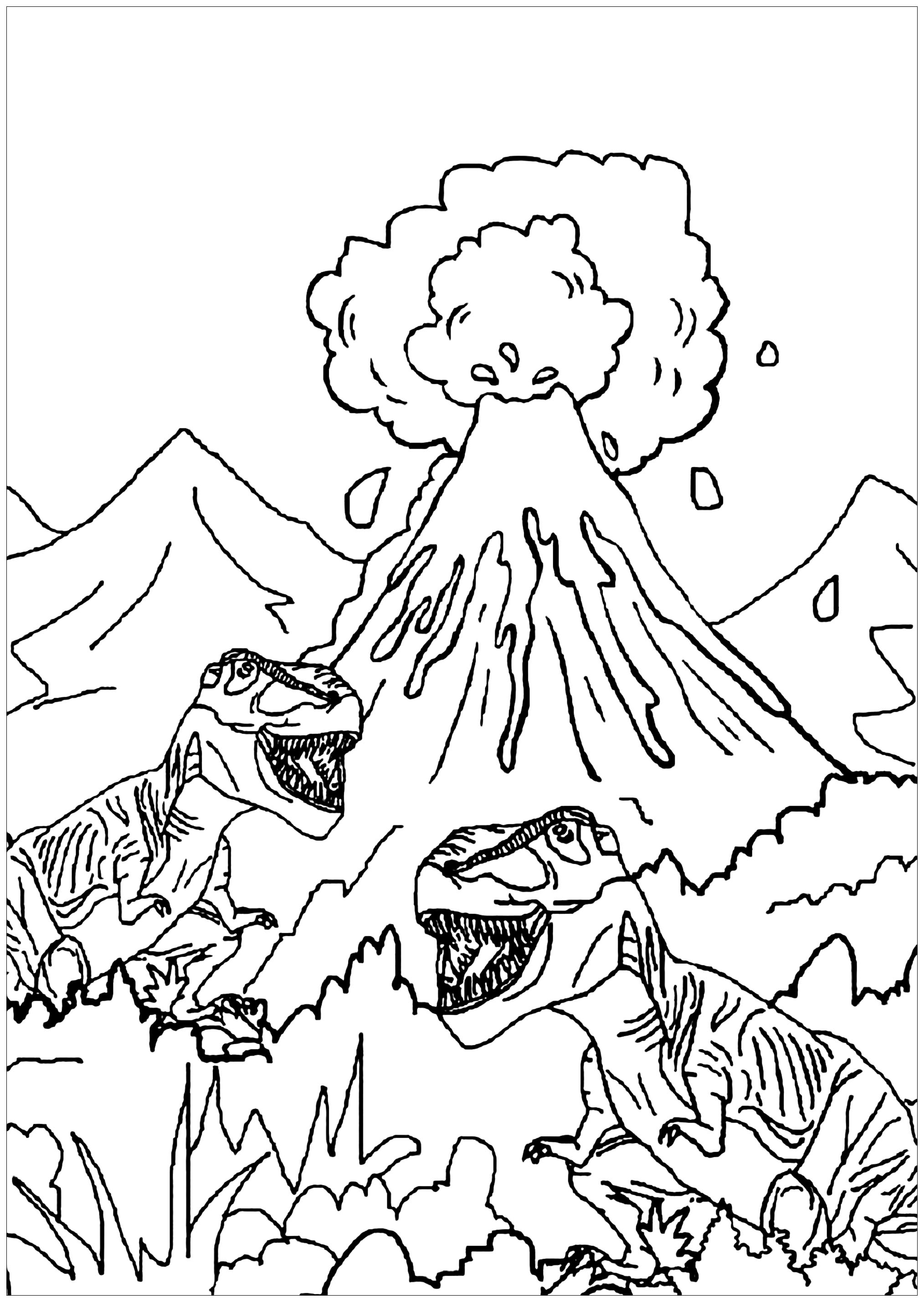 Dinosaurs To Print For Free : Dinosaurs And Volcano dedans Coloriage Dinosaure Raptor