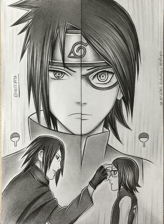 Disegno Sasuke E Sarada | Sasuke, Arte Manga, Naruto Uzumaki à Coloriage Naruto Sasuke