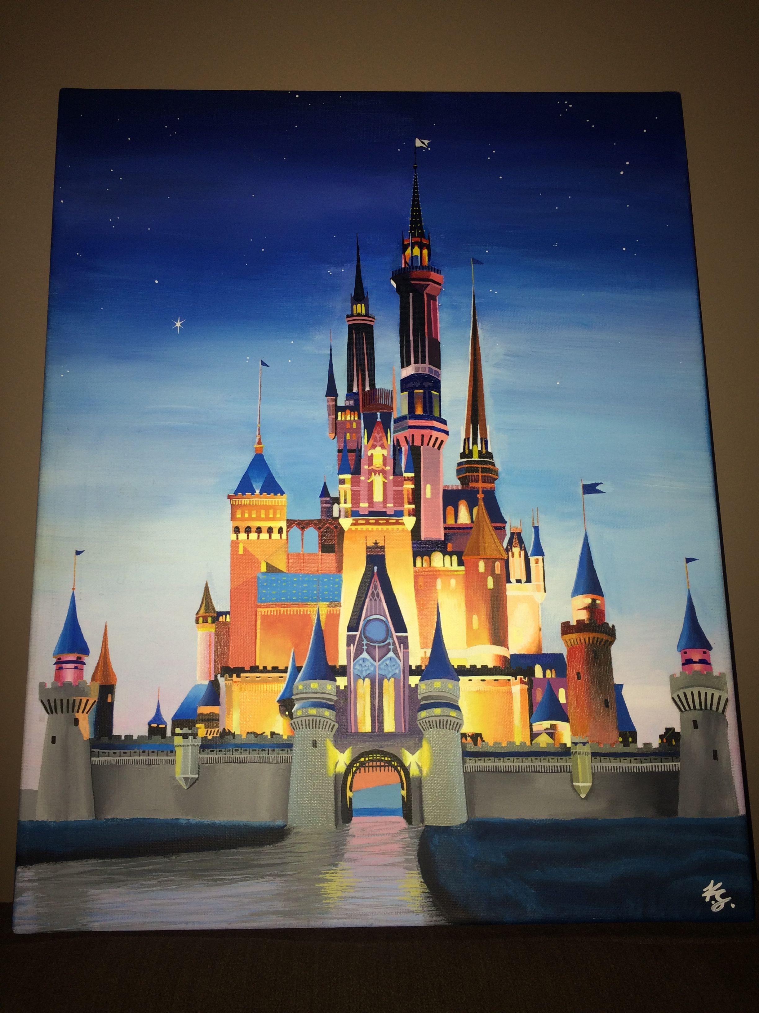 Disney Cinderella Castle Painting On Canvas $300 | Disney dedans Dessin Chateau Disney