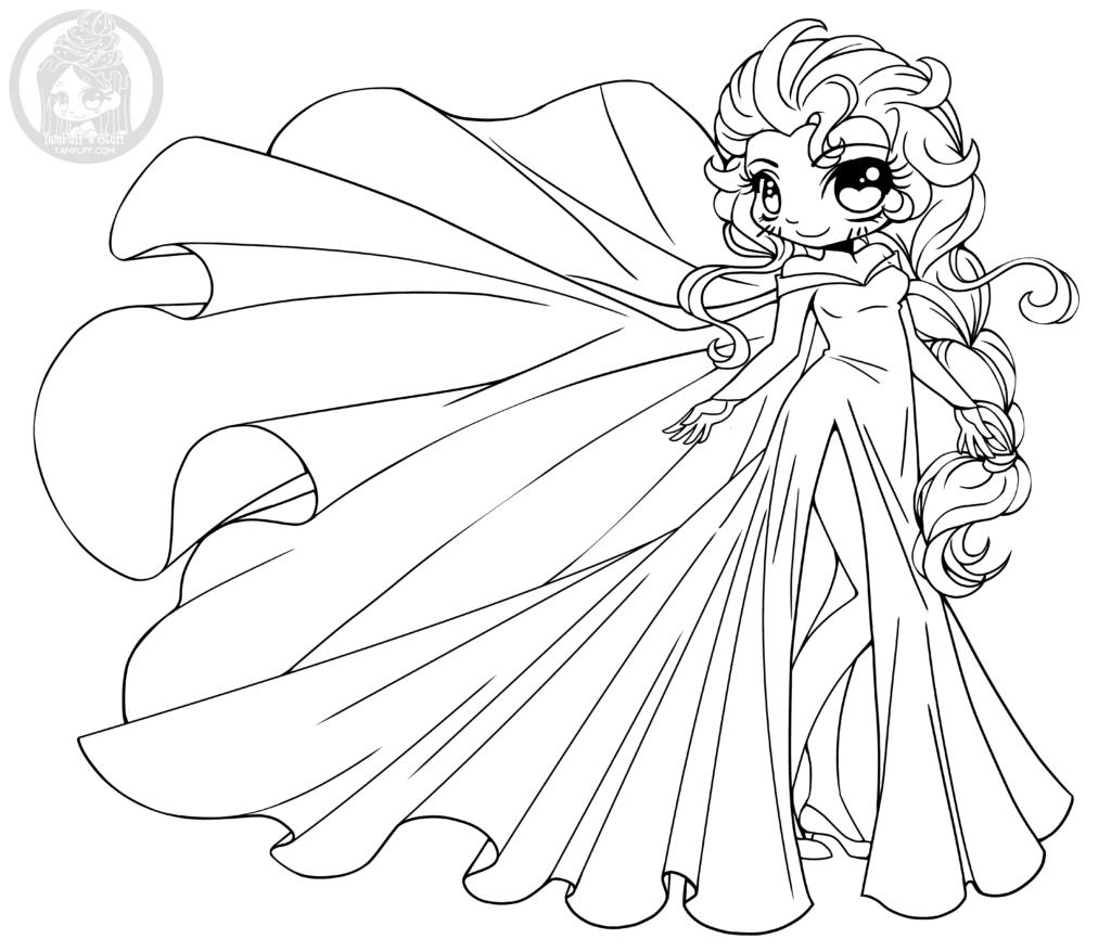 Disney Frozen Elsa Princesse Chibi À Colorier Par Yampuff tout Coloriage De Princesses Disney A Imprimer