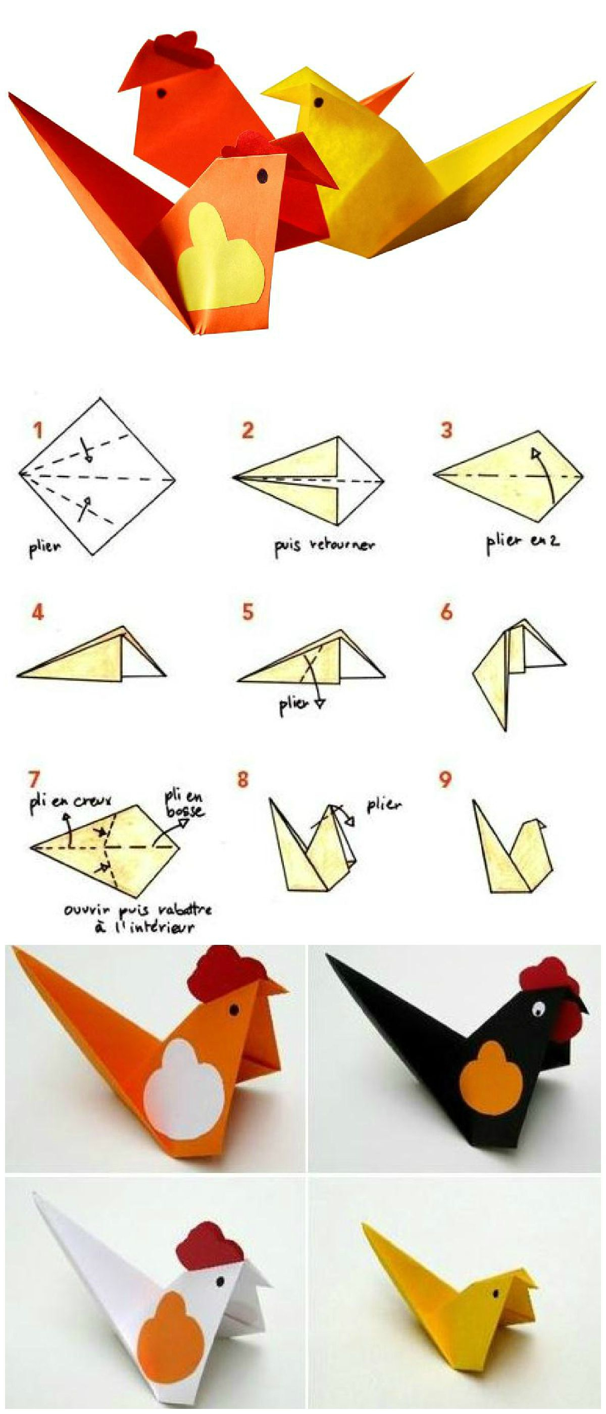 Diy Cocottes Et Poussins En Origami - Idées Conseils Et intérieur Faire Du Bricolage En Papier