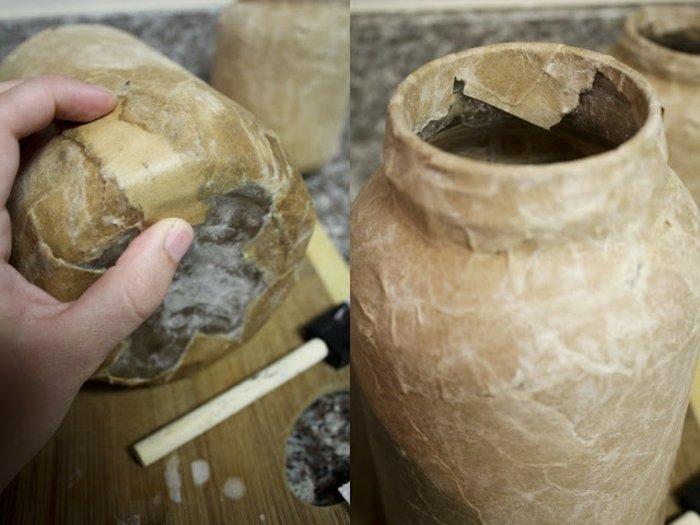 Diy : Décorez Des Vases En Verre Avec Du Papier Mâché serapportantà Objets En Papier Maché