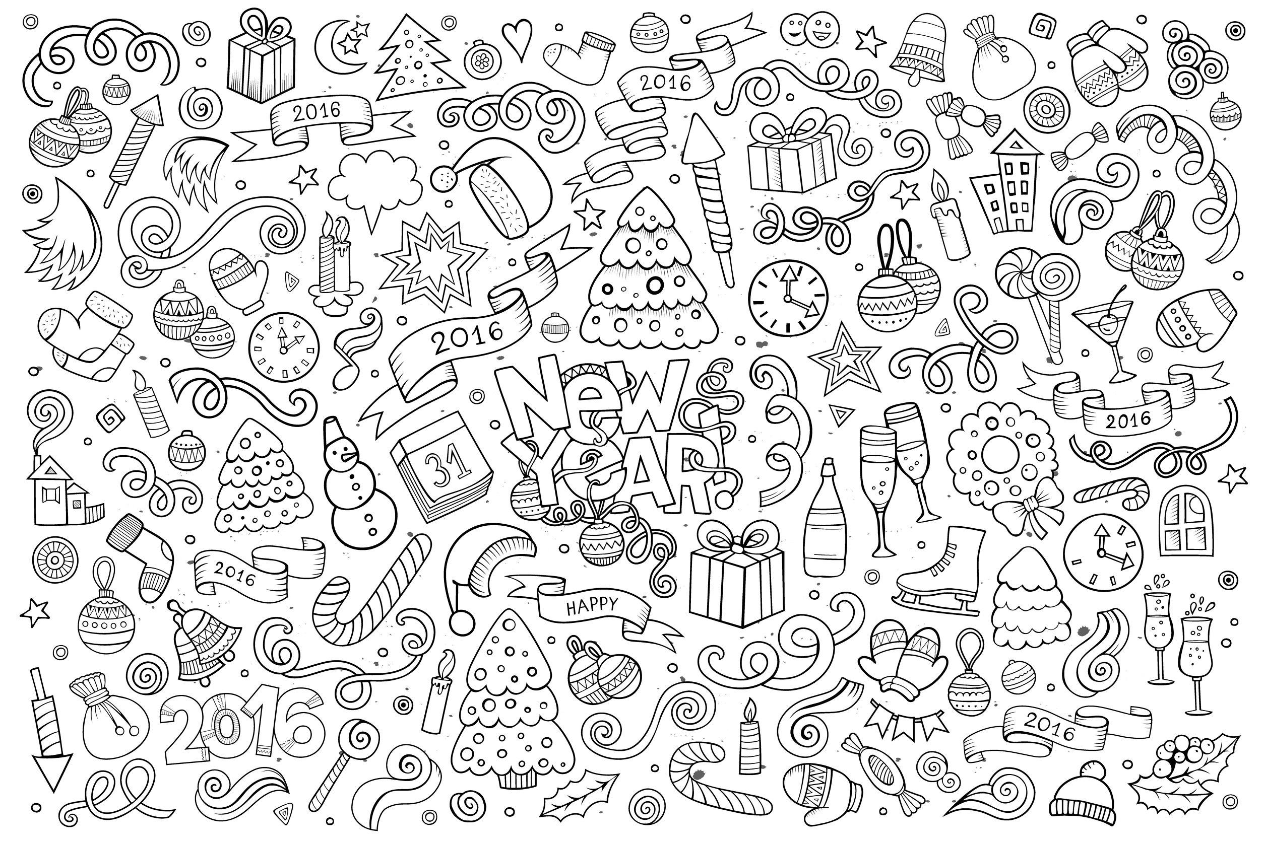 Doodle Happy New Year 2016 - Doodle Art / Doodling Adult destiné Coloriage Poster