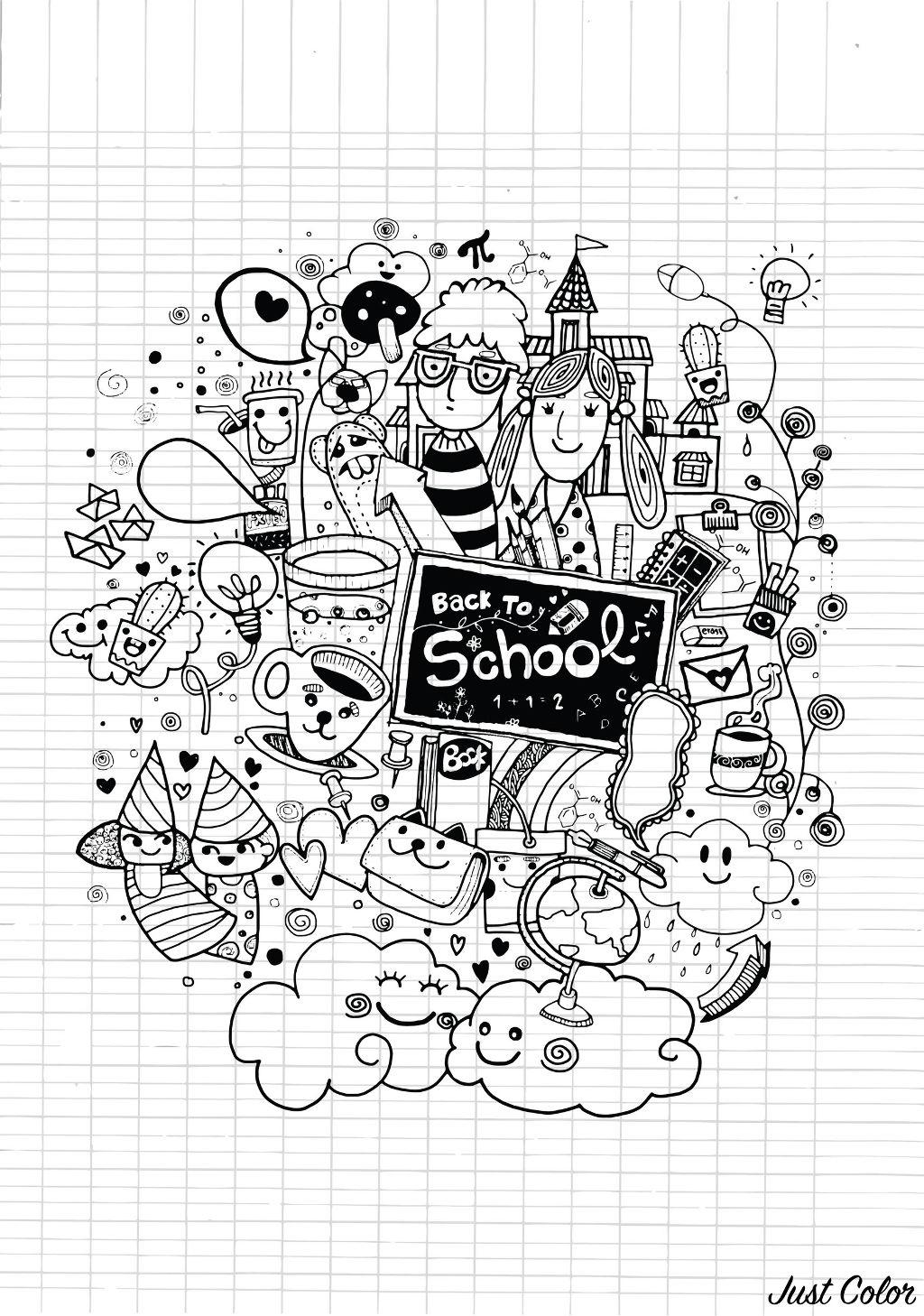 Doodle Rentree Des Classes Sur Cahier - Doodles dedans Coloriage Rentr?E Des Classes
