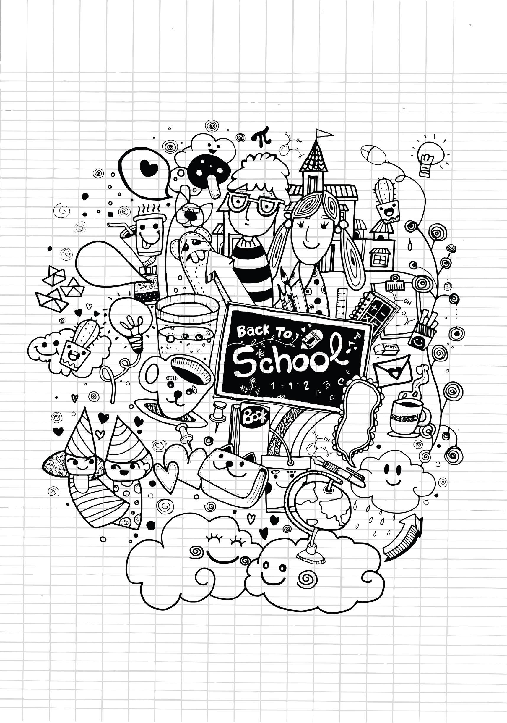 Doodle Rentree Des Classes Sur Cahier - Doodles intérieur Cahier De Coloriages Pour Adultes