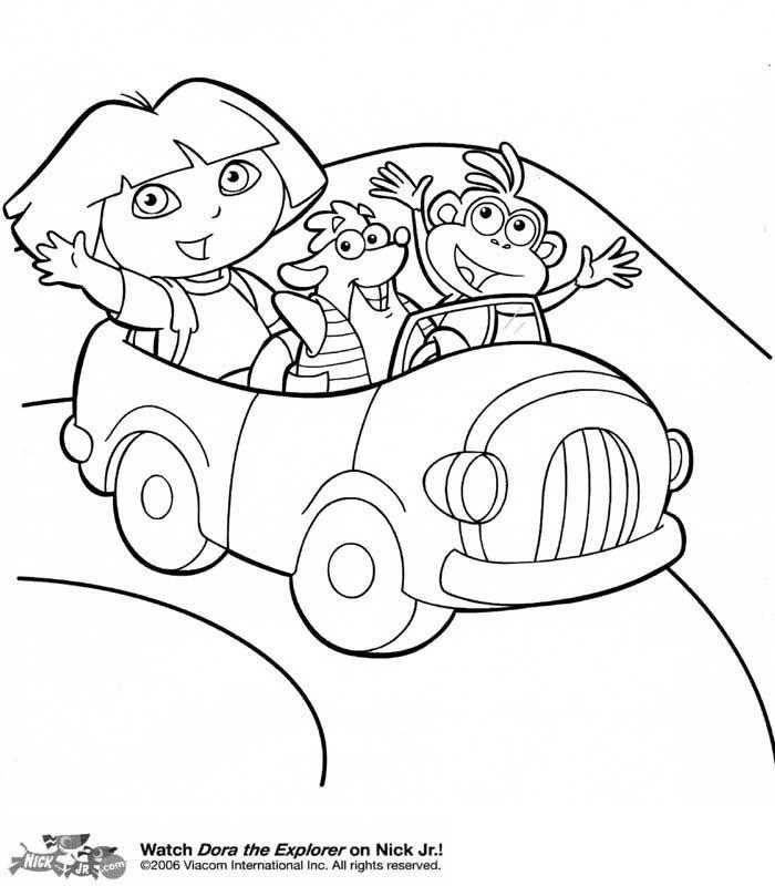 Dora En Voiture - Coloriage Dora | Coloriage Dora, Voiture dedans Dessin A Colorier Dora