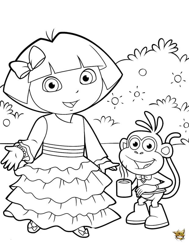 Dora T'Invite Est Un Coloriage De Dora L'Exploratrice pour Dessin A Colorier Dora Gratuit A Imprimer