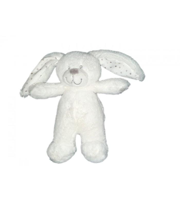 Doudou Lapin Blanc Bebe Pois Pommette 18 Cm Chez Vous Des à Lapin Trotro