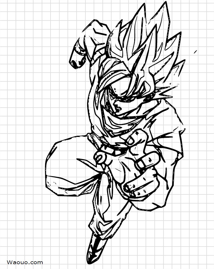 Dragon Ball Z : Sangoku À Dessiner Et À Colorier avec Coloriage Dragon Ball Z Sangoku
