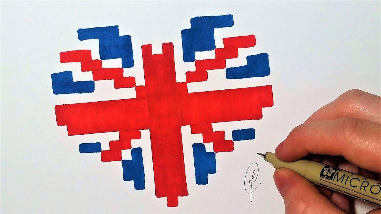 Drapeau Anglais Coeur - Pixel Art (Facile) - à Drapeau De L Angleterre À Colorier