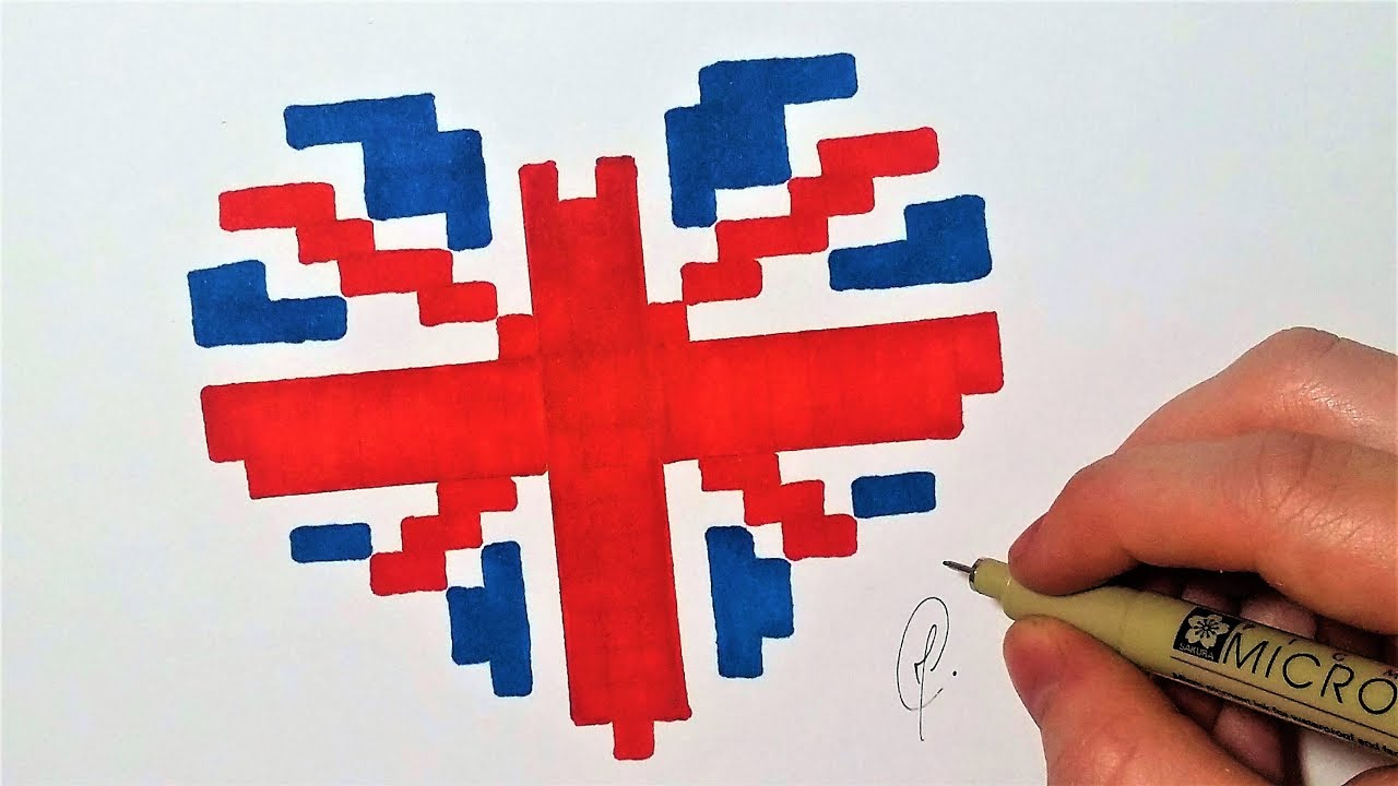 Drapeau Anglais Coeur - Pixel Art (Facile) - concernant Dessin De L Angleterre