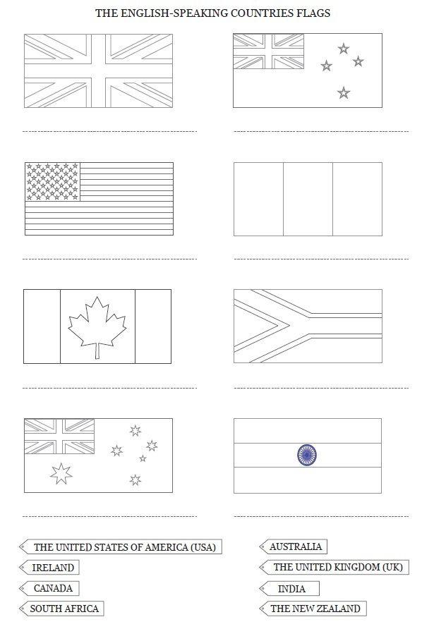 Drapeaux Et Carte Des Pays Anglophones À Colori à Drapeau Anglais A Colorier