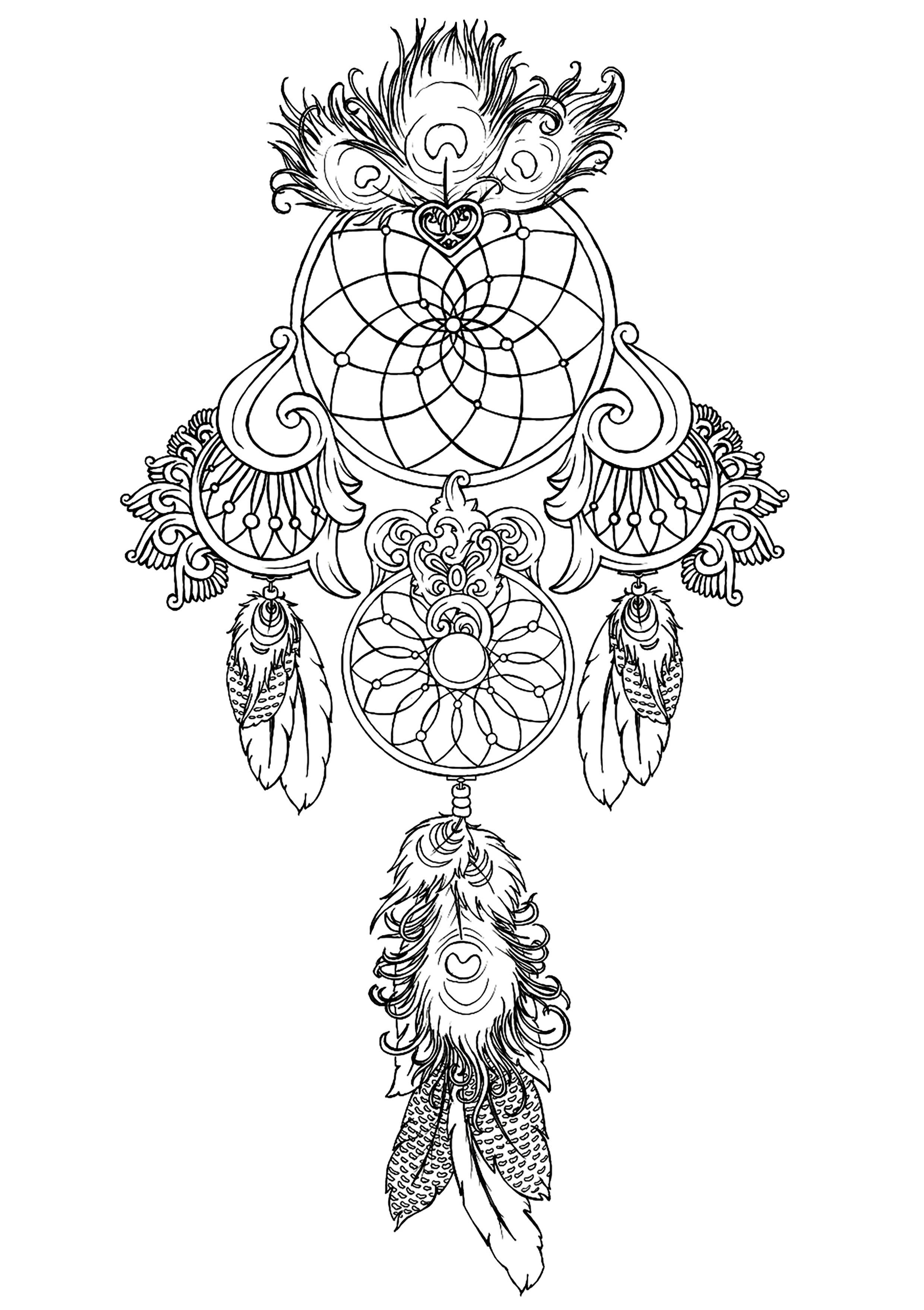 Dreamcatcher To Print 1 | Zen And Anti Stress - Coloring à Coloriage Zen