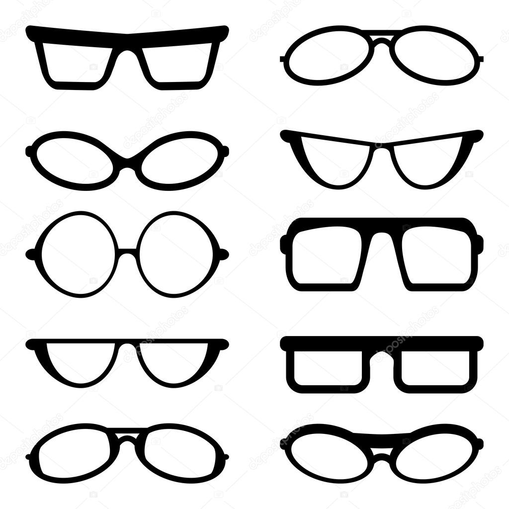 眼镜和太阳镜剪影 — 图库矢量图像© Andrijamarkovic #57039801 dedans Lunette Dessin