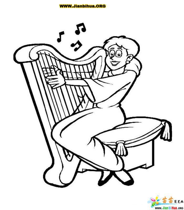 音乐乐器简笔画大全59张(第57张) serapportantà Dessin Harpe